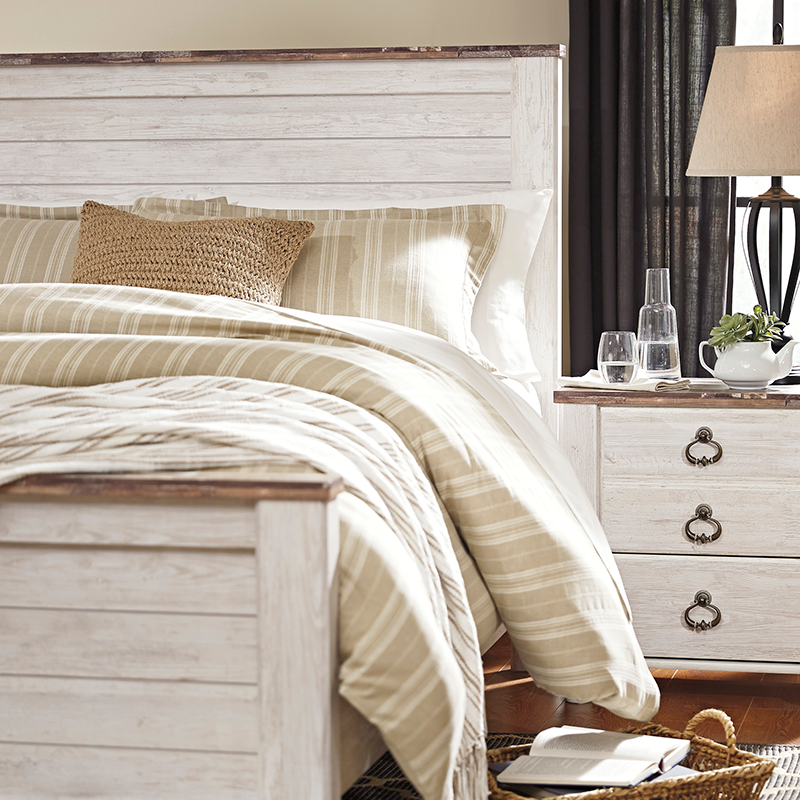 Ashley Willowton Bed With Nightstands Rent To Own Bedroom Sets
